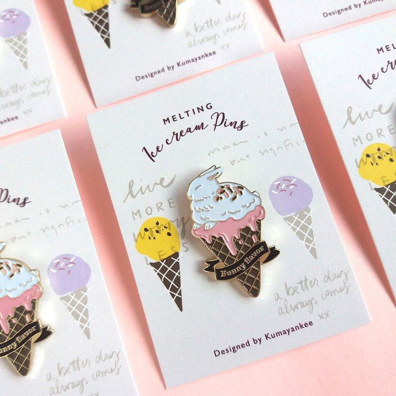 Bunny flavored ice cream metal brooch