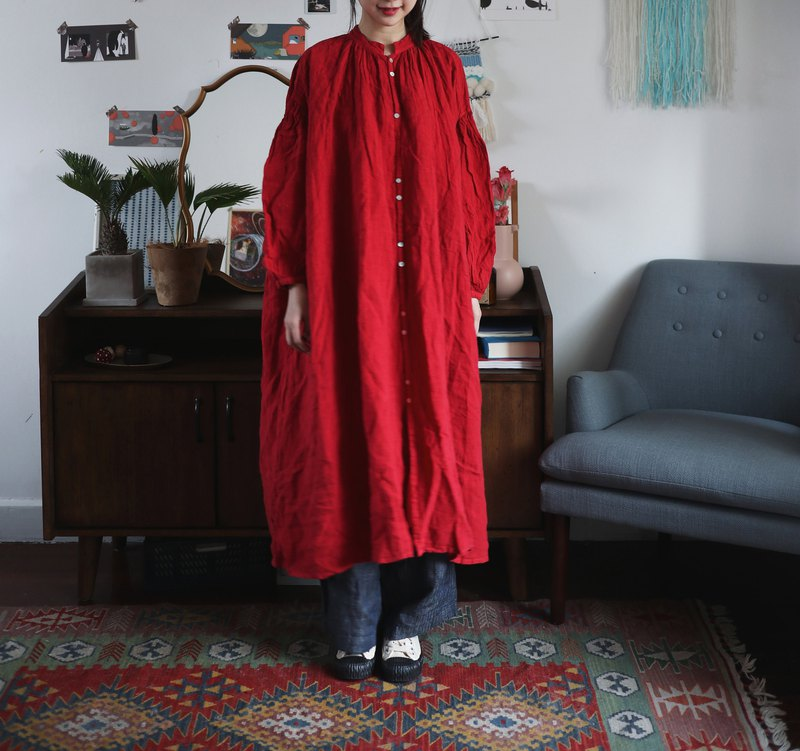 Red Wide A-line Flax Full Lined Dress