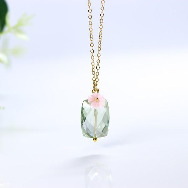 Love's guardian stone Green amethyst and pink shell necklace can be changed to large pierced earrings