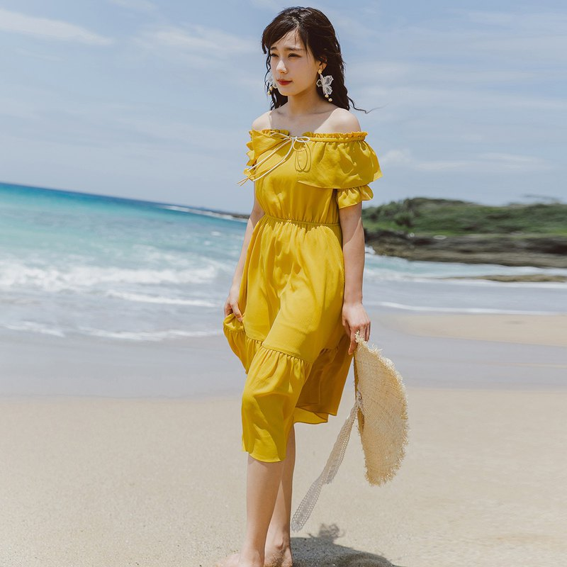 Anne Chen 2018 summer new style art women's solid color word collar elastic waist dress dress