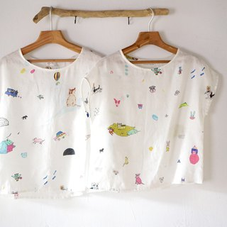 YINKE WORLD puppies, big stars, elephants, kittens calico summer linen short sleeves