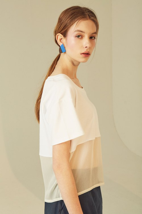 剪接穿透T-shirt 白色 / Sheer Cut T-shirt WHITE