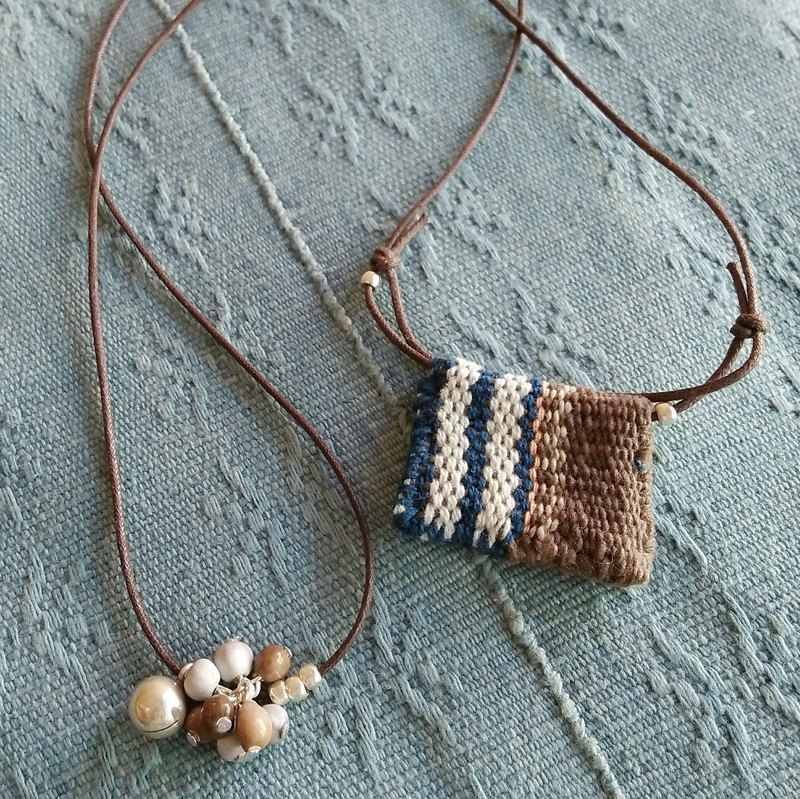 Back Cloth Necklace / Indigo Square / Hand-woven Cloth Karen Silver Plant Dyed Juzdama job's tears