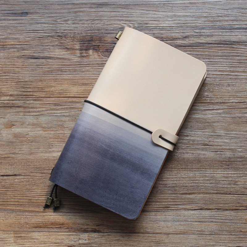 White gradient black leather work pocket leather travel handbook log custom gift