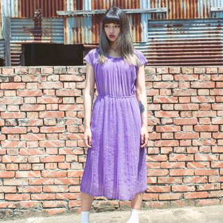 Elegant purple dot circle half sleeve old dress