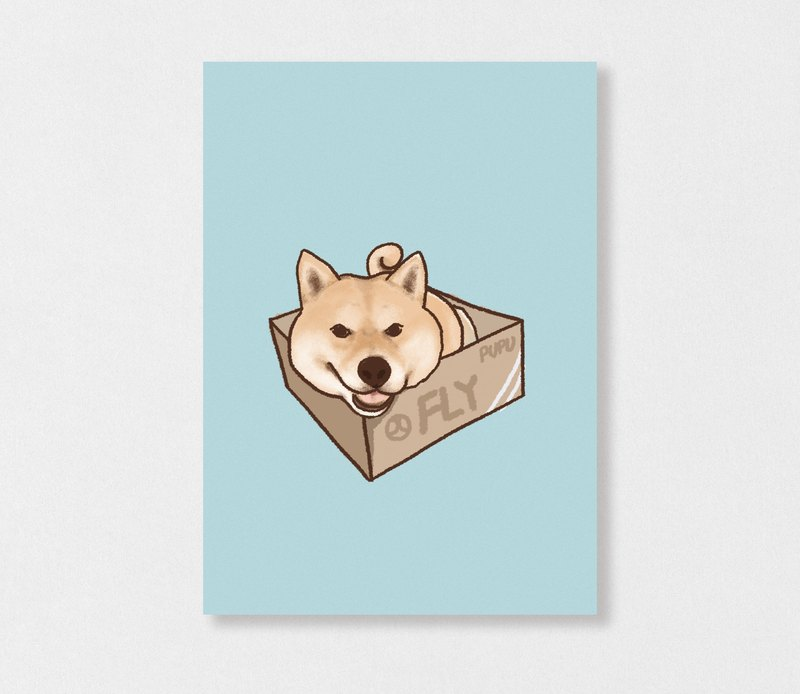 """Shiba Inu - hide box"" Planet Flies / Shiba Inu / wool kids / illustration postcards / Hands Bazaar"