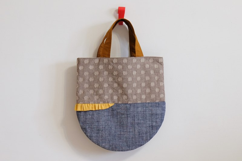Skirt shaking - cotton and linen handbag - brown x blue EH72 (booked only for Kathlie subscript)