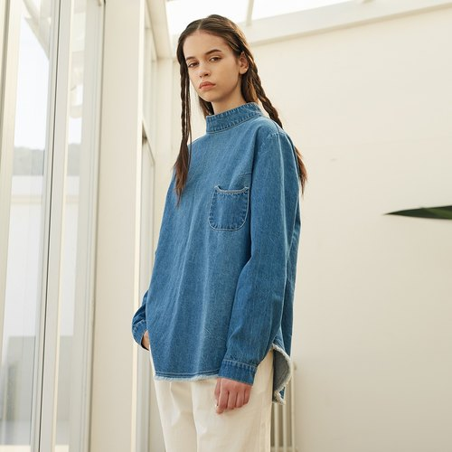 Cotton wool half-collar after the buckle buckle denim shirt