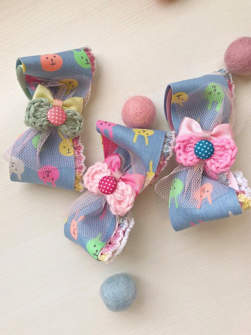 Child kid hairpin fluorescent rabbit denim denim fabric roll cotton lace