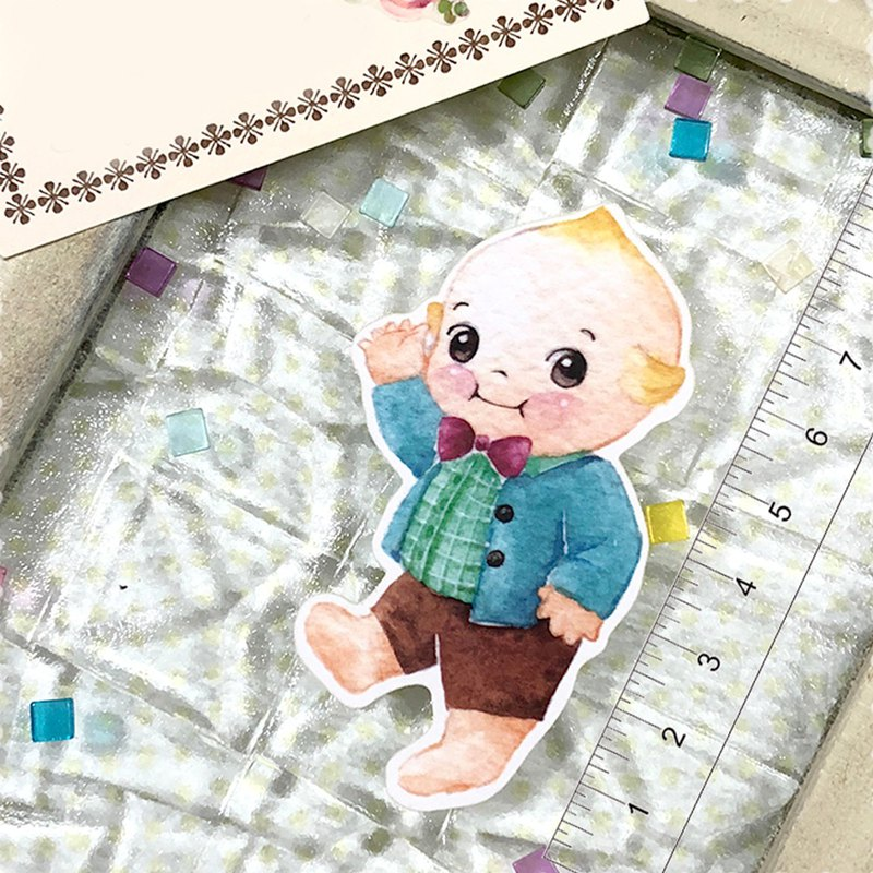 Kewpie Baby sticker-Celebrate you! Boy in Brown
