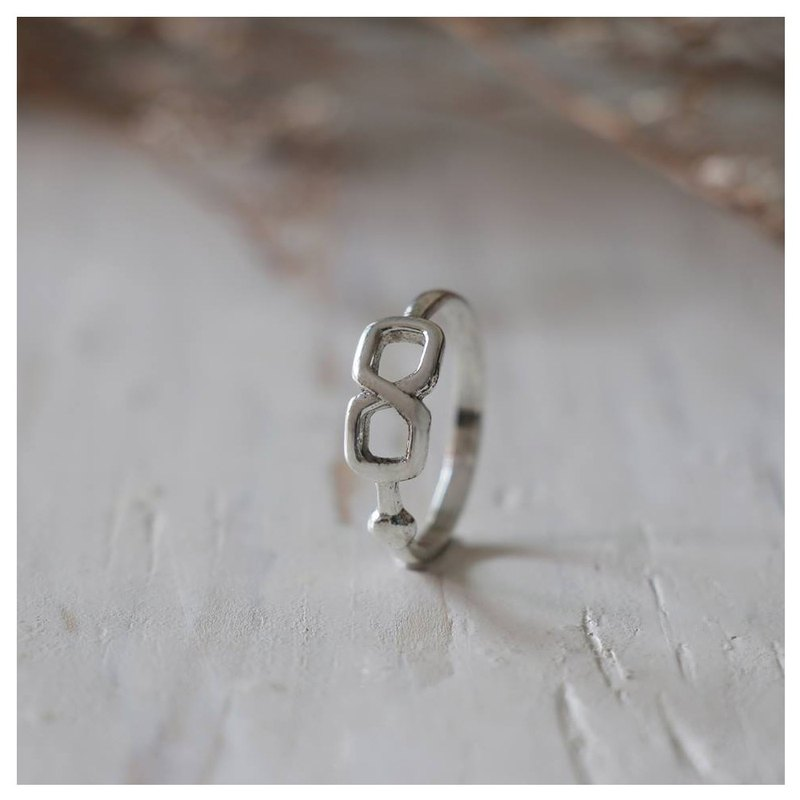Number 8 eight Minimal ring Smooth handmade lady women Girl silver thin infinite