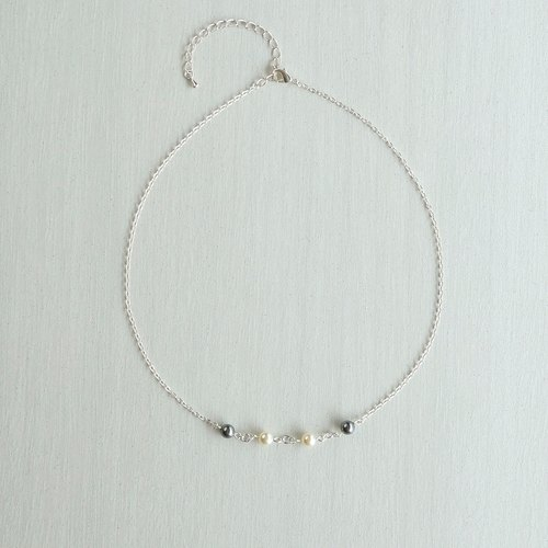Wooden strap series. Accessories Pearl Necklace Grey, White Pearl with Silver Chain