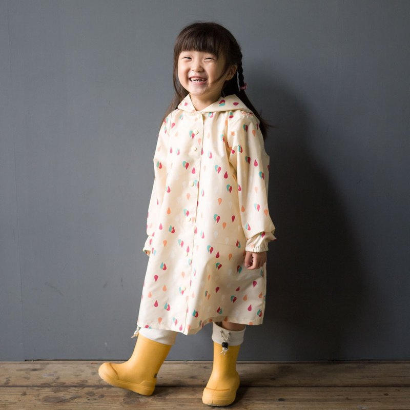 Raindrops yellow kid's raincoat
