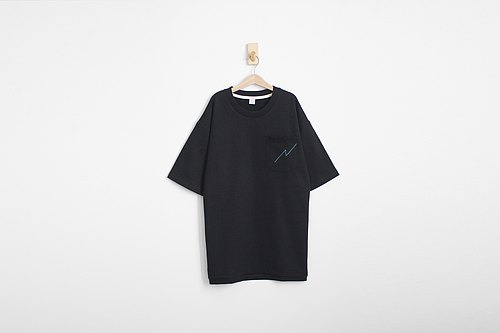 Loose Drop Shoulder Pens Black Edition Thick Black Tee Pocket Tee - Size Qi