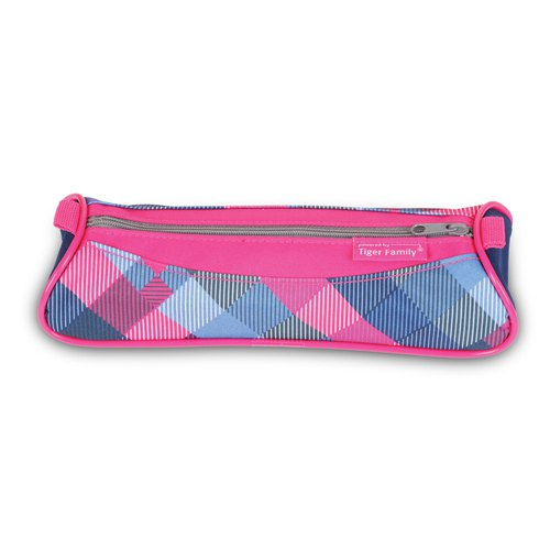 Tiger Family Explorer Simple and Stylish Pencil Box (Small) - Blueberry Grid