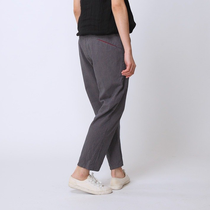 BUFU stripe nine-quater pants P151209