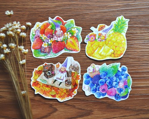 【Watercolor illustration stickers】 Strawberry, blueberry, pineapple and picnic