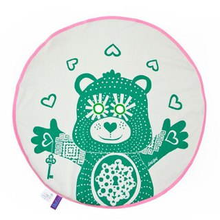 BU! BLANKIE peekaboo organic cotton blanket – Teddy Bear Green (powder edge) Teddy Green /Pink