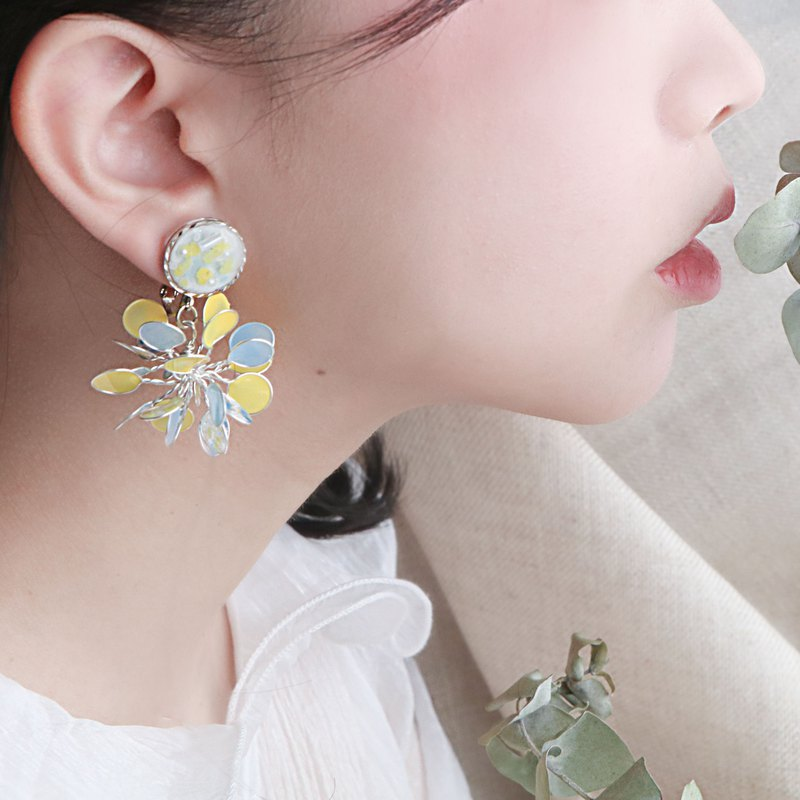 Purely。White jade / Pendant 925 pure silver ear pin