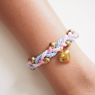 Pink & Blue braided bracelet with gold brass balls and heart charm