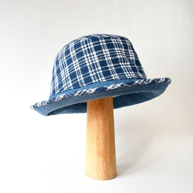 Handmade Blue and White Checkered with denim Bucket Hat // Bucket Hat