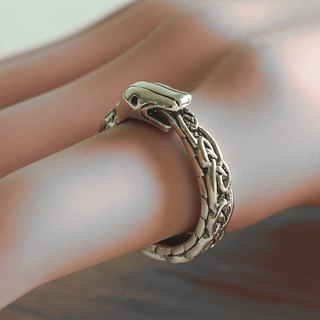 Snake Ring Sterling Silver Viking odin Celtic Ouroboros biker skull dragon women
