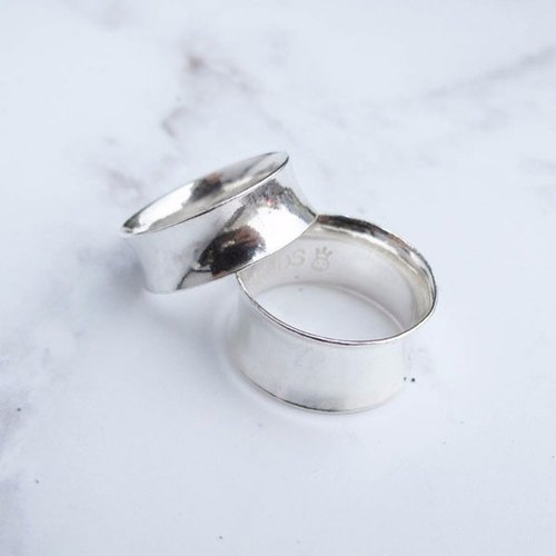 Big staff Taipa [manual × custom × DIY] concave sterling silver couple ring (pair)