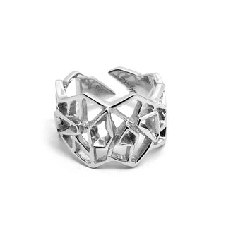 WIREFRAME Ring / White Gold ( silver jewelry)