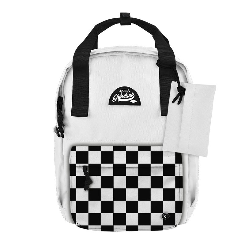 Grinstant mix and match detachable group 13 吋 backpack - black and white series (white with chess board)