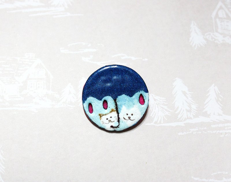 Two cats walking in the rain / umbrella --- dark blue enamel pins