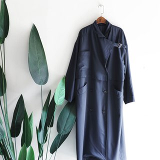 Aichi dark blue classic double row simple fashion antique thin windbreaker jacket trenchcoat dustcoat
