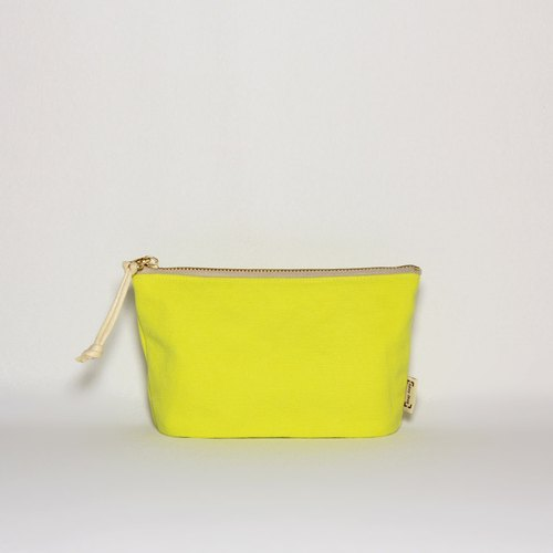 Thick canvas zipper bag fluorescent lemon yellow
