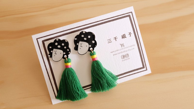 Three thousand roots series / fringe earrings / green