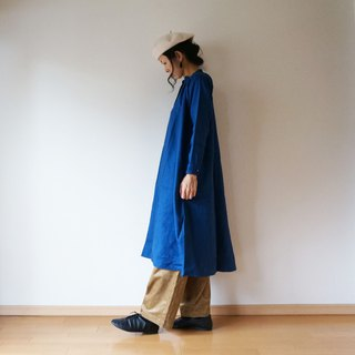 Linen One piece coat ladies BLUE
