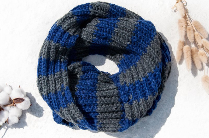 Hand-knitted pure wool scarf / knitted scarf / crocheted striped scarf / hand-knitted scarf-blue gray stripes
