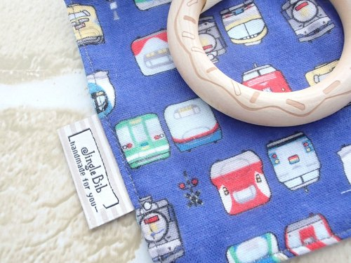 Baby Teething Blanket, Rattle Teether, Wooden Toy, Japanese Cotton, Blue Trains