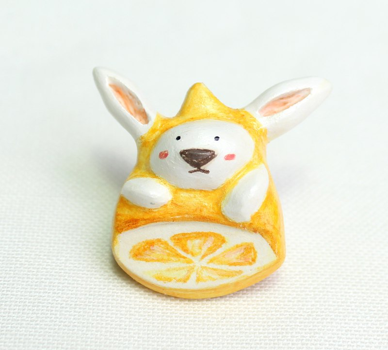 Handmade lemon rabbit  brooch