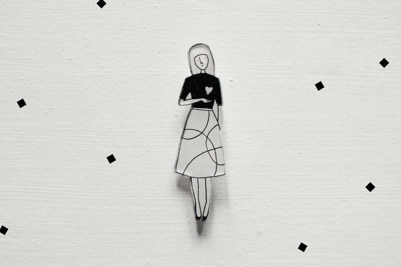 Miss Hairy Collection / Black and White Brooch / 006