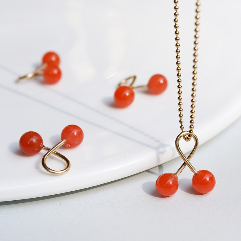 Cherry South Red Agate Necklace VISHI Untimed American Original 14k Gold Original Design Female Simple Chain