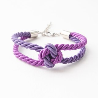 Purple two tone squre knot rope bracelet