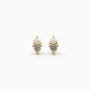 Opal CZ Duo Stud Earrings - 925 Sterling Silver