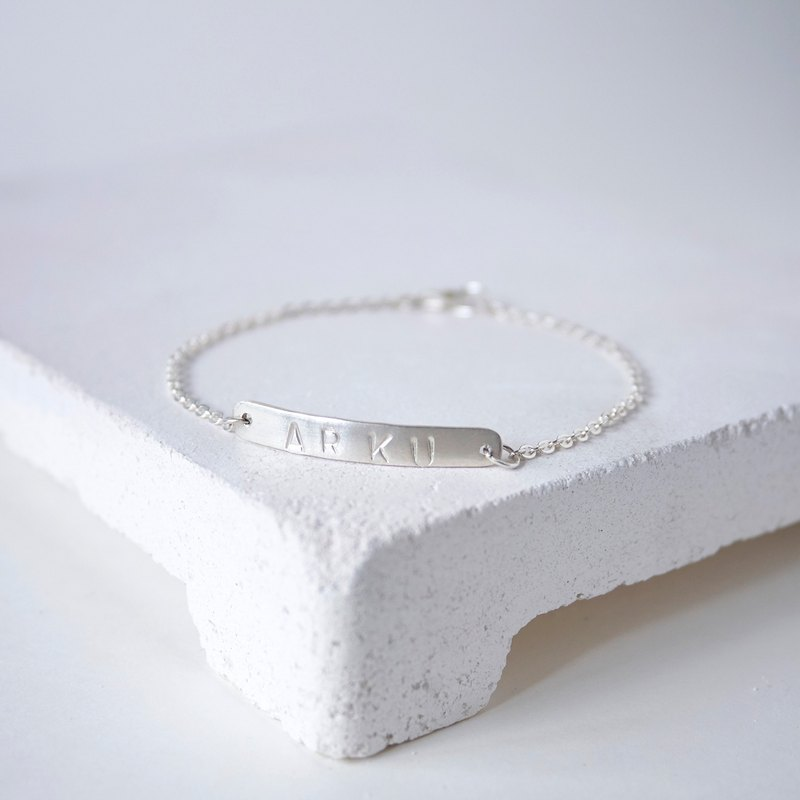 Customized Personalized Silver Bar Bracelet, Sterling Silver, Made to Order