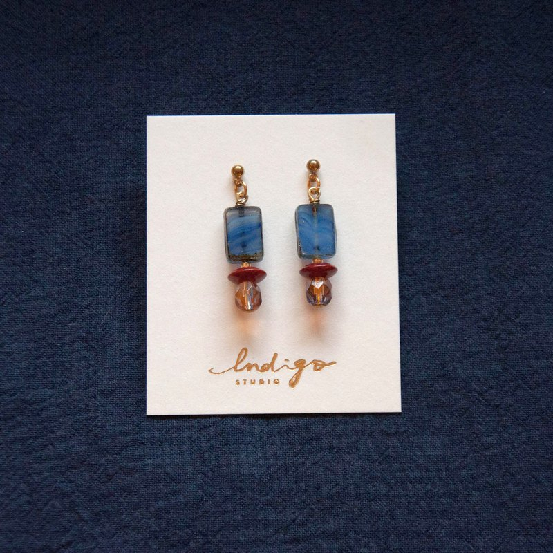 Deep Blue Wave Square Earrings