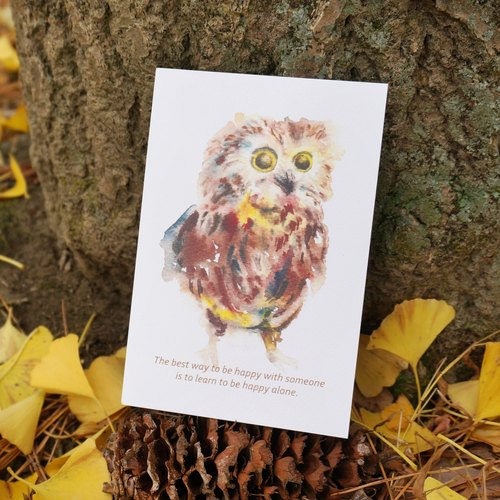 Lovely Animal watercolor postcard, Greeting card, Birthday card, print - OWL