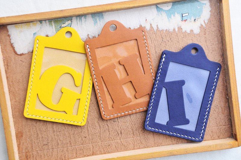 Initial G | H | I Letter ID sets of well-stitched leather material pack card holder name card holder