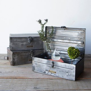 VINTAGE STEEL BOX Vintage Distressed Metal Storage Box