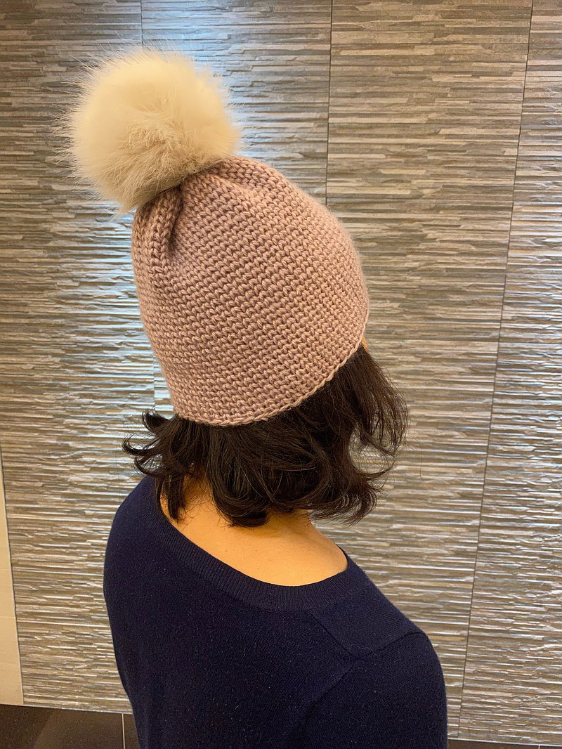 Hand-knitted woolen hat-large hair ball can be detached-beige only this one