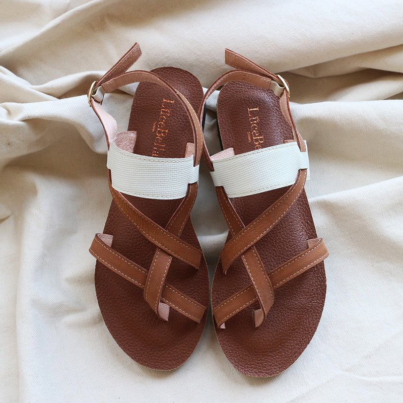 [Ten Miles South] Sheepskin Roman Sandals-Brown White