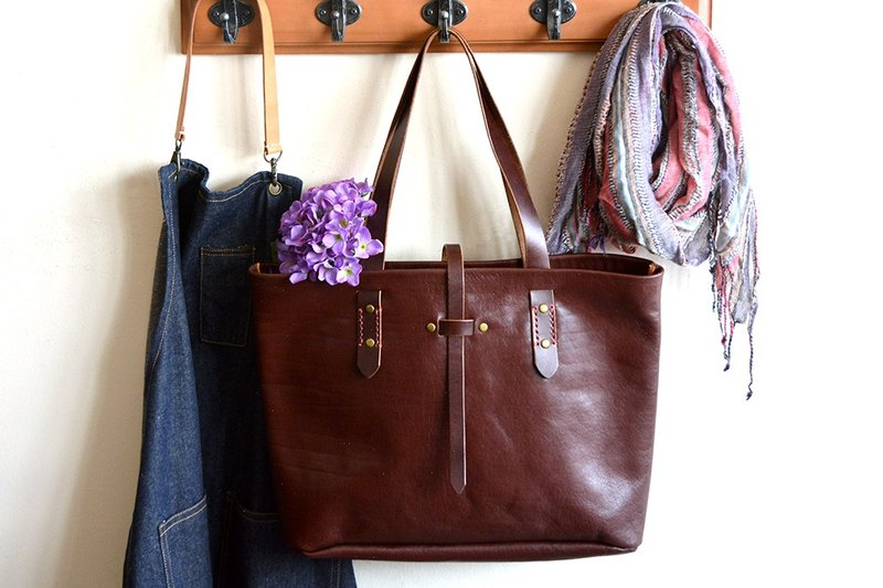 Fading Mist Handmade Leather Tote Bag