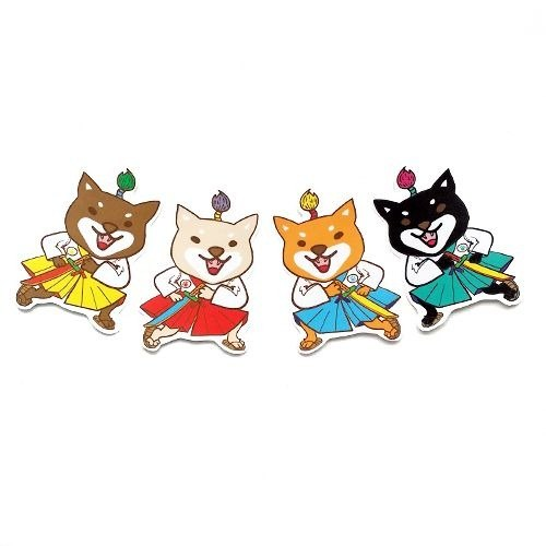 1212 design fun funny stickers waterproof stickers everywhere - Warriors Shiba combination